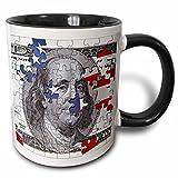 3dRose Hundred dollar bill usa american money bank note puzzle flag abstract puzzled franklin benjamin - Two Tone Black Mug, 11oz (mug_155046_4), 11 oz, Black/White
