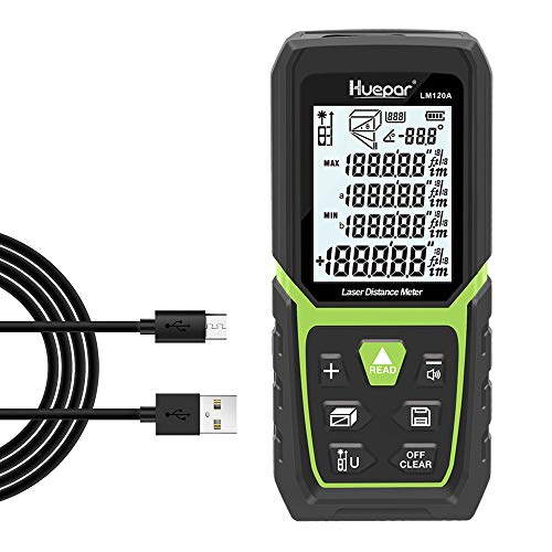 Huepar Laser Distance Meter 393Ft with Li-ion Battery & Electric Angle Sensor, Backlit LCD Laser Measure M/In/Ft with High Accuracy Multi-Measurement Modes, Pythagorean, Distance, Area&Volume-LM120A