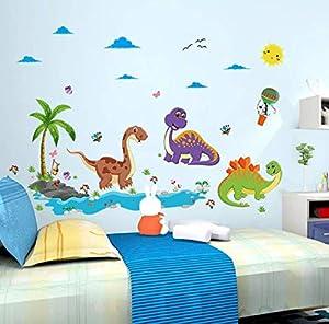 ملصقات جدارية من الفينيل على شكل ديناصور كرتوني DIY ملصقات جدارية لغرف الأطفال ورياض الأطفال وغرفة الأطفال والحضانة - XSQ