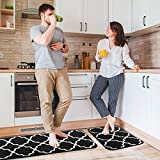 "Delxo Kitchen Rug Set ,17""x48""+17""x24"" Non Slip Machine Washable Kitchen Rugs and Mats Set Kitchen Mat Rug Runner Set Indoor Outdoor Entry Rug Floor Carpet (Black"