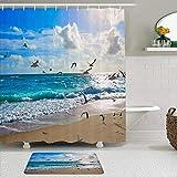Juego de cortinas y tapetes de ducha de tela,Orilla Singer Island Playa Estados Unidos Paraíso Gaviotas Turismo Natura,cortinas de baño repelentes al agua con 12 ganchos, alfombras antideslizantes