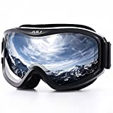 Juli Ski Goggle/Snow Snowboard Goggles for Men, Women & Youth - 100% UV Protection Anti-Fog Dual Lens(Black Frame+12% VLT Silver Len)