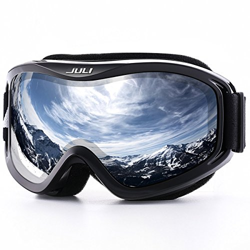 Juli Ski Goggles, Snow Sports, Winter, Snowboard, Goggles Anti-Fog, Over Glasses, UV Protection, Men, Women, Double Lens, Skiing Skating, Snowmobile
