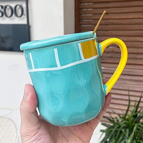 LongBin Tazas De Cerámica De Arte Coreano De 400 Ml con Cuchara De Tapa, Taza De Café De Niña Tierna Rosa, Tazas De Leche para El Desayuno De Pareja, Taza De Oficina para Mujer, Azul Cian