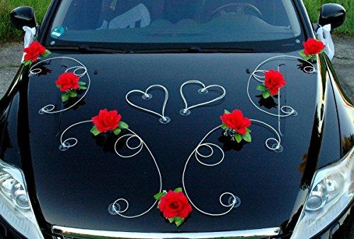 Autoschmuck DEKOR Auto Schmuck Braut Paar Rose Deko Dekoration Hochzeit Car Auto Wedding Deko PKW (Rot/Weiß)