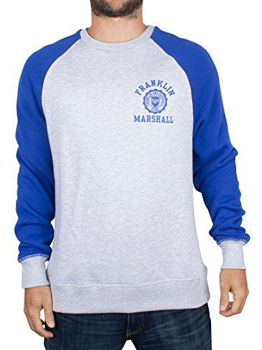 Franklin & Marshall Herren FLMVA130AMW16 Sweatshirt, Grau (Light Grey Melange), L