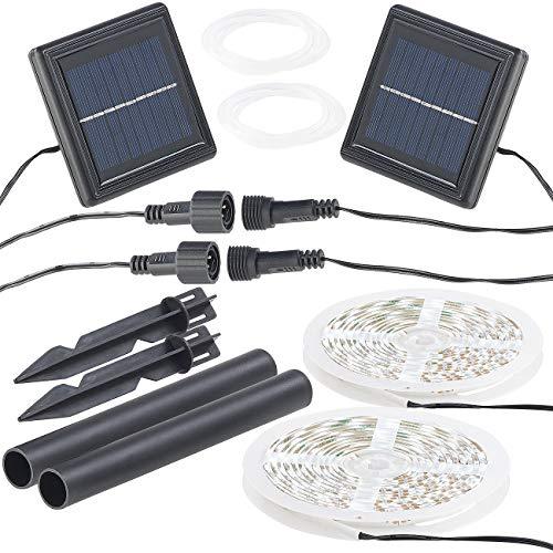 Lunartec Solar Lichterkette: 2er-Set Solar-LED-Streifen mit 180 tageslichtweißen LEDs, IP65 (LED Band Solar)