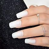 MXLYR Uñas postizas Uñas postizas preciosas uñas postizas largas iridiscentes mate Frost Art Design DIY Full Free Uñas postizas artificiales 24