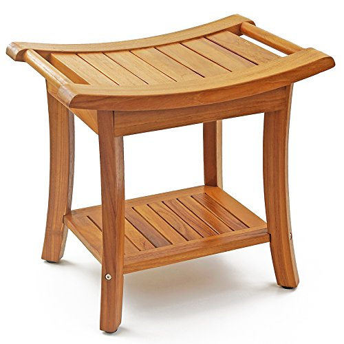 WELLAND 19.5' Deluxe Teak Wood Shower Bench, 2-Tier Storage Shelf Bath Stool with Handles, Waterproof Bathroom Bench