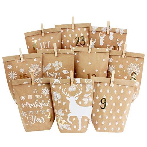 Papierdrachen DIY Adventskalender zum Befüllen - 24 Bedruckte Geschenktüten und 24 Zahlenaufkleber und Klammern - Motiv Cozy Winter weiß - zum Basteln und Verschenken - Weihnachten
