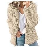 ZuzongYr Damen's Mäntel Chaqueta de lana con capucha para mujer, cálida, para exterior, de ganchillo, de invierno, de lana sintética, de punto caqui S