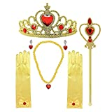 Princess Dress Up Accessories, Belle Accessories Set of 6 Princess Belle Crown Elena of Avalor Tiara Princess Belle Accessories for Girls with Belle Gloves Crown Wand Necklace Earrings Princess Accessories