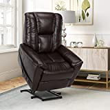 Dorel Living Ernie Power Chair with Lift Assist and Massage Function with Quiet Engine, Brown Recliners,