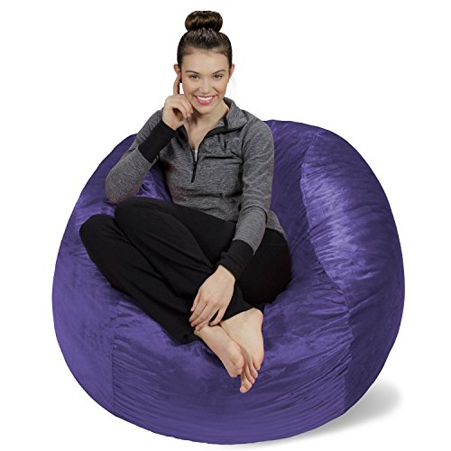 Sofa Sack - Plush, Ultra Soft Bean Bag Chair - Memory Foam Bean Bag Chair with Microsuede Cover - Stuffed Foam Filled Furniture and Accessories for Dorm Room - Purple 4'