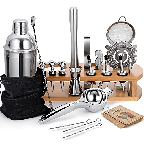 24-Piece Cocktail Shaker Bartender Kit with Stand, 24 oz Martini Shaker, Mixing Spoon, Muddler, Measuring Jigger, Lemon Squeez, Tongs, Corkscrew, Liquor Pourers and More Professional Bar Tools