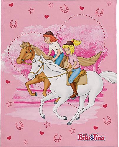 BERONAGE Bibi und Tina Decke Freunde 130 cm x 170 cm Rosa Fleecedecke Blocksberg Pferde Sabrina Amadeus Kuscheldecke zur Bettwäsche