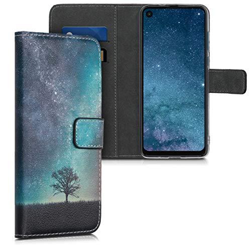 kwmobile Hülle kompatibel mit Motorola One Vision - Kunstleder Wallet Hülle mit Kartenfächern Stand Galaxie Baum Wiese Blau Grau Schwarz
