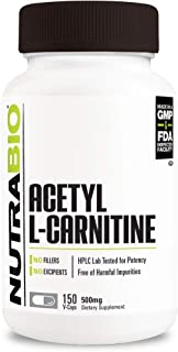 NutraBio Acetyl L-Carnitine (ALCAR) Supplement - 150 Capsules, 500 mg