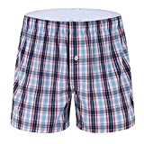 LATINDAY ✙ Mens Pajama Shorts Cotton Plaid Sleep Shorts Lounge Boxer with Pockets