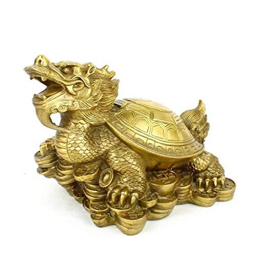 L.TSN Estatua de Tortuga dragón de Cobre Puro de Feng Shui Chino, Tortuga dragón se Sienta en la Estatua para Proteger la Riqueza, felicitación de inauguración de la casa, Adorn