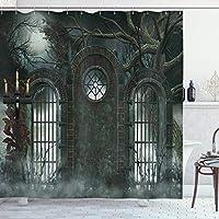 ホラーハウスのインテリアシャワーカーテン、月ハロウィーン古代歴史的なゲートゴシック背景キャンドルフィクションビュー、布のバスルームの装飾セットフックハンターグリーン