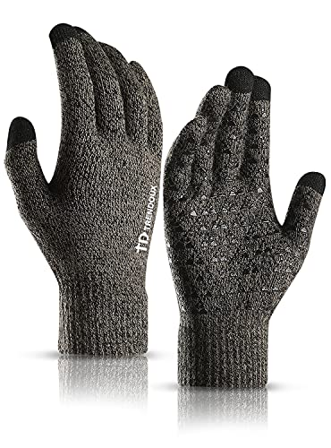 TRENDOUX Driving Gloves, Unisex Knit Winter Touchscreen Glove Men Women Texting Smartphone - Elastic Cuff - Thermal Wool Lining - Stretchy Material Gray - L