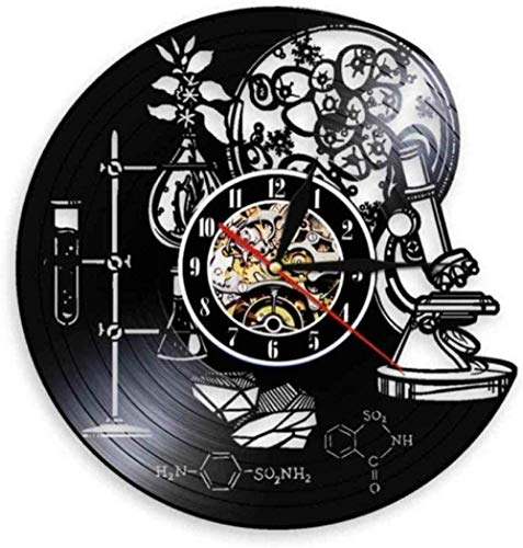 YDZYXY Regalo Reloj de Vinilo Reloj de Pared Experimento de química decoración de Pared Retro habitación Familiar Art Deco Regalo 12 Pulgadas con LED-12 pulgadasUGT617