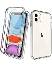 DMDMBATH Case for iPhone 11 Case with Built-in Screen Protector Full Duty Protection Shockproof Anti-Scratched Rugged Clear Gradient Case for iPhone 11 6.1 inch