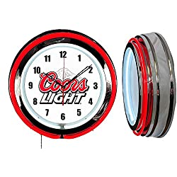 Checkingtime LCC 19 Coors Light Neon Clock, Two Neon Tubes, RED Outside Tube