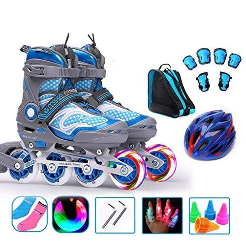Taoke Kinder Inline Skates, justierbare einreihig Skates for Jugend, Rosa Jungen-Mädchen-Spaß-Flashing Roller Skates (Farbe: Blau, Größe: L (EU 37-40)) dongdong (Color : Blue, Size : L (EU 3740))