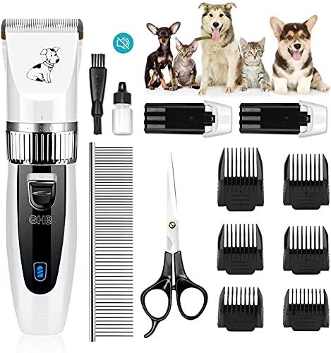 GHB Tierhaarschneider Hunde Schermaschine Hundeschermaschine Hunde Katzen Haustier Timmer mit Hundeschere 6 Aufsätze und 2 Wiederaufladbare Akku