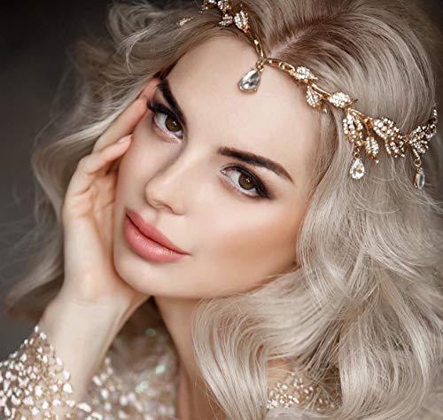 Kercisbeauty Speciale Kroon voor Vrouwen Bruiloft Bruids Goud Hoofdband met Crystal Oliver Bladeren Strass Steentjes Boho Hoofdstuk Party Haaraccessoires voor Bruiden Prom Goud