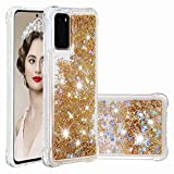 LG Phoenix 5 Case, LG K31 Case, LG Fortune 3 Case, 3D Glitter Quicksand Flowing Liquid Bling Sparkle Cute Clear Transparent TPU Gel Silicone Shockproof Cover Protective Case Girls Women gold