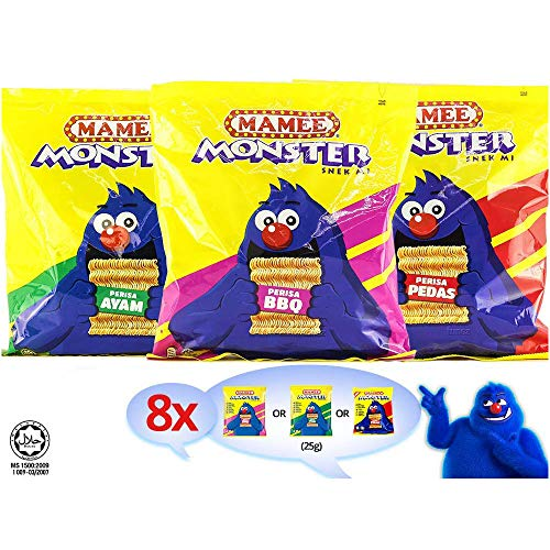 Mamee Malaysia Mamee Monster Chicken BBQ Spicy Pedas Flavour Instant Noodles Tea Time Snack Food Halal Ayam Pedas 7.05oz 1 Pack x 200g (8 Packs) (Chicken)