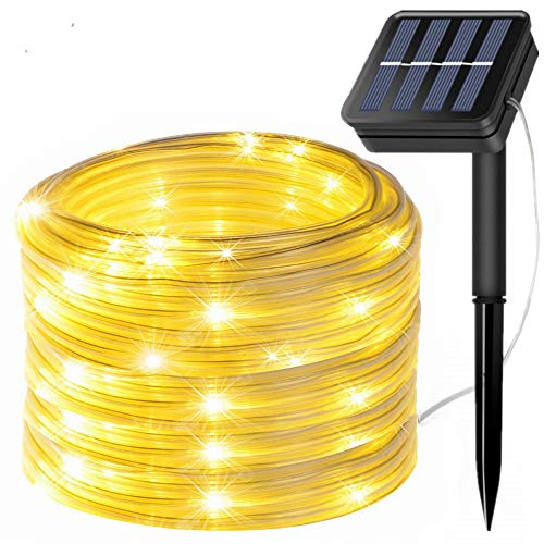 FANSIR Solar String Lights Outdoor Rope Lights, 8 Modes 100 LED Solar Powered Outdoor Waterproof Tube Light Copper Wire Fairy Lights for Garden Fence Patio Yard Party Wedding Decor (Warm White)