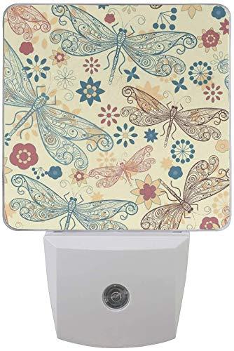 2er-Pack Plug-in LED-Nachtlichtlampe Libellen und Blumen drucken mit Dämmerungs- bis Dämmerungssensor für Schlafzimmer, Badezimmer, Flur, Treppen, 0,5 W, UK-Buchse