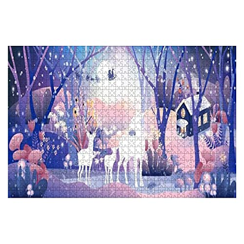 1000 Piece Fantasy Landscape of Magic Forest with Fairy Tale Reindeers Family Large Piece Jigsaw Puzzles for Adults Educational Toy for Kids Creative Games Entertainment Wooden Puzzles Home Decor