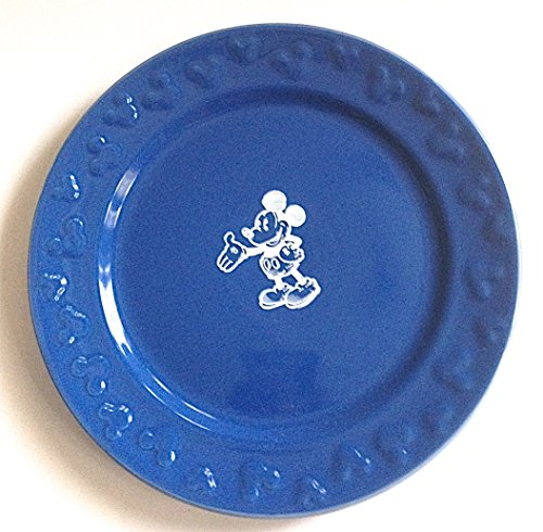 Disney Parks Blue with White Mickey Mouse Sketch Salad Dessert Plate NEW