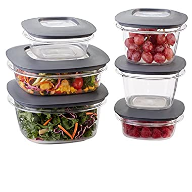Rubbermaid Premier Easy Find Lids 12-Piece Food Storage Container Set, Grey