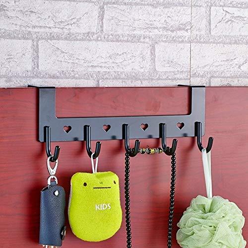 林クリエイティブドアバックメタルフックトレースなしの強力なハンガーキッチン無穴ネイルフックホルダー(マットホワイト) WXW (Color : Pearl Black)