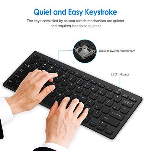 JETech Ultra-Slim 2.4G Wireless Keyboard for Windows (Black) - 2160