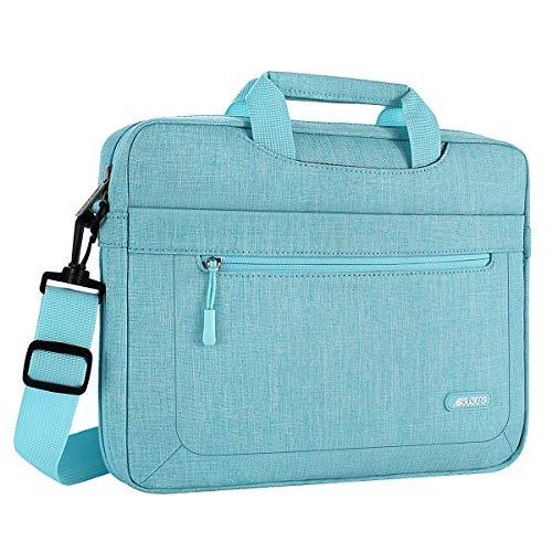 MOSISO Umhängetasche Laptoptasche Kompatibel mit MacBook Pro 16 Zoll A2141 2020 2019, 15-15,6 Zoll MacBook Pro, Notebook, Polyester Schultertasche mit Einstellbar Tiefe beim Unterseite, Heiß Blau