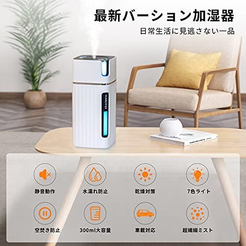 2021年最新版YIHOPE加湿器卓上超音波式超静音USB加湿器アロマ対応次亜塩素酸水対応空焚き防止濡れ防止車用小型加湿機オフィス寝室七色ライト大容量日本語説明書付きホワイト