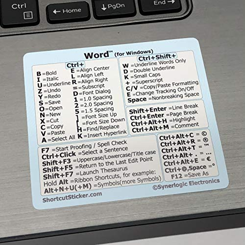 """SYNERLOGIC Microsoft Word (for Windows) Cheat Sheet Reference Guide Keyboard Shortcut Sticker - Material Vinyl, Temporary Adhesive - Size 2.8""""x2.5"""" (White/Blue)"""