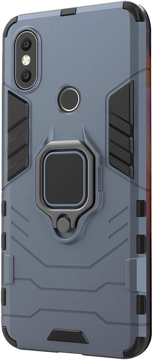 Funda Xiaomi Mi A2 / 6X Carcasa, Borde de Silicona Negro Duro PC Case Anti-Arañazos, Anti-Golpes, con Anillo Grip Kickstand para Xiaomi Mi A2 / 6X