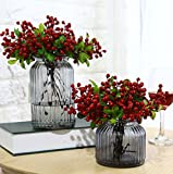 Mistari 10 Pcs Plastic Artificial Flowers California Berries Blueberry Fruit Fake Silk Flowers Home Decorative Party Wedding (Red 10 Pack)