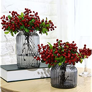 Mistari 10 Pcs Plastic Artificial Flowers California Berries Blueberry Fruit Fake Silk Flowers Home Decorative Party Wedding (Red 20 Pack)
