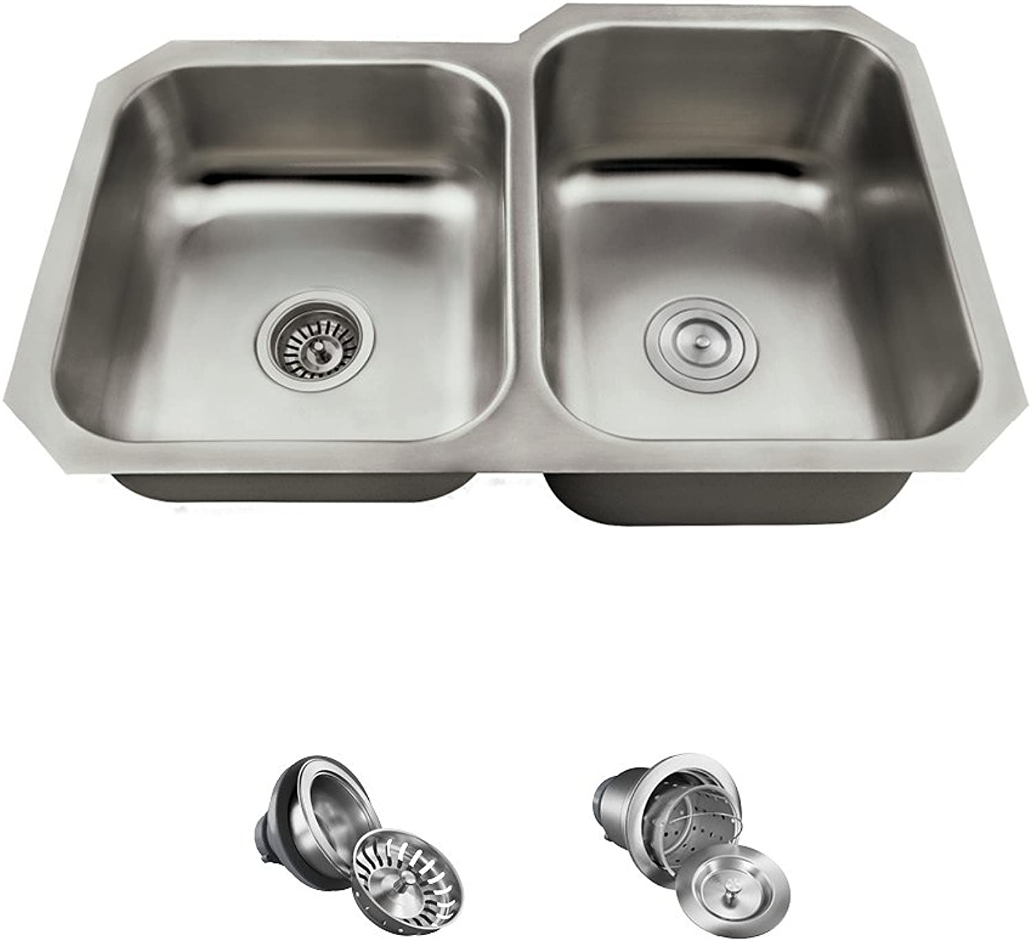 The MR Direct US1053R 18 Gauge Kitchen Ensemble (Bundle - 3 Items  Sink and 2 Standard Strainers)