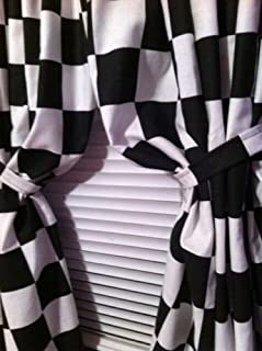 2 WINDOW CURTAIN PANELS MADE FROM COTTON Nascar Race or Retro Diner Black and White Checkered Flag FABRIC Each panel is 42