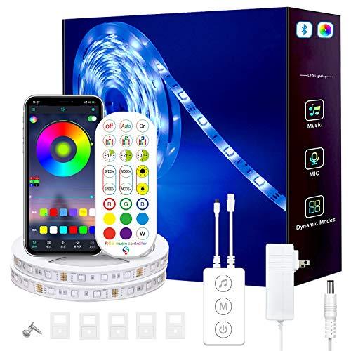 WRQING Tiras LED, Tiras de Luces LED Smart 5050 Control APP, Luces Led Habitacion con Controlador Bluetooth Sincronizar, con Música Solicitar TV Dormitorio (Size : 20M)